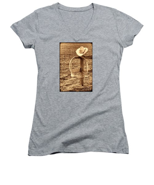 Hat And Lariat On A Post Women's V-Neck T-Shirt (Junior Cut) by American West Legend By Olivier Le Queinec