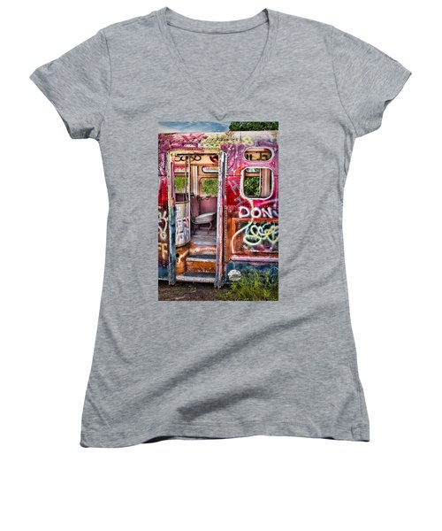 Haunted Graffiti Art Bus Women's V-Neck
