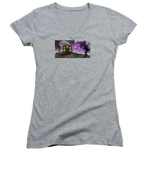 Haunted Halloween Women's V-Neck T-Shirt (Junior Cut) by Anthony Citro