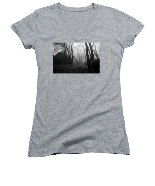 Women's V-Neck T-Shirt (Junior Cut) featuring the photograph Haunted Woods by Jorge Maia