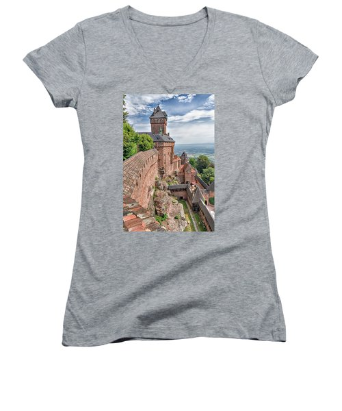 Haut-koenigsbourg Women's V-Neck T-Shirt (Junior Cut) by Alan Toepfer