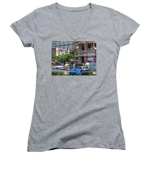 Women's V-Neck T-Shirt (Junior Cut) featuring the photograph Havana Cuba by Charles Harden