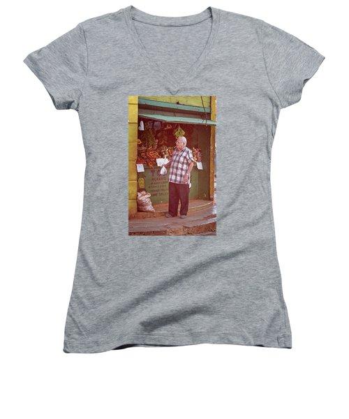 Women's V-Neck T-Shirt (Junior Cut) featuring the photograph Havana Cuba Corner Market by Joan Carroll