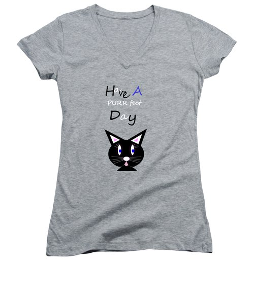 Have A Purrfect Day Women's V-Neck T-Shirt (Junior Cut)