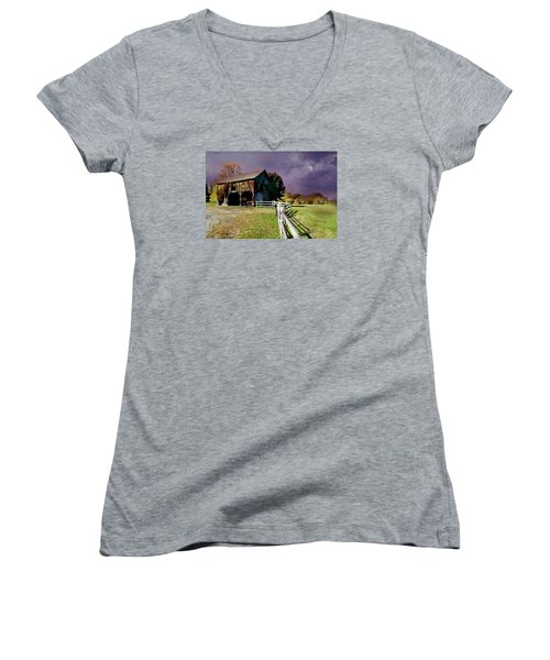 Time To Leave Women's V-Neck T-Shirt (Junior Cut) by Diana Angstadt