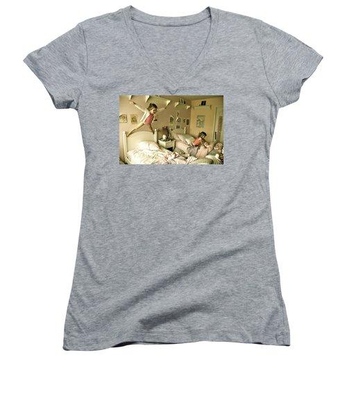 Having A Blast Women's V-Neck T-Shirt (Junior Cut) by Valerie Rosen