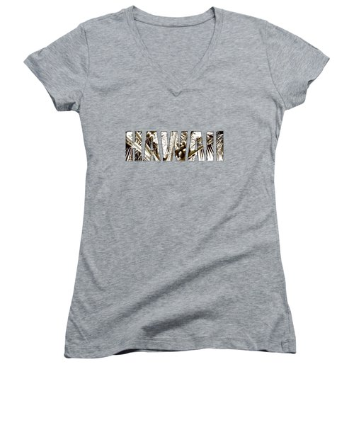 Women's V-Neck T-Shirt (Junior Cut) featuring the photograph Hawaii Coconut Palm Type by Kerri Ligatich