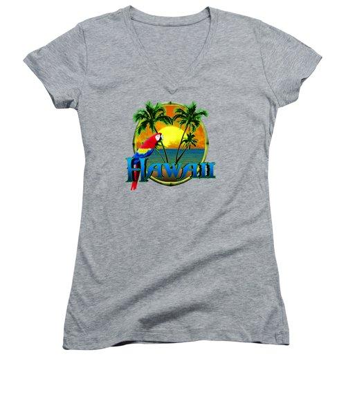 Hawaii Parrot Women's V-Neck T-Shirt (Junior Cut) by Chris MacDonald