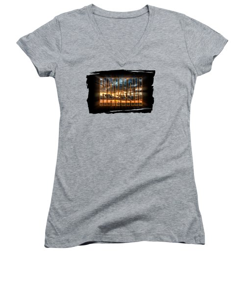 Hawaii Sunset Women's V-Neck T-Shirt (Junior Cut) by David Lawson