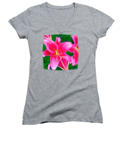 Hawaiian Flowers Women's V-Neck (Athletic Fit)