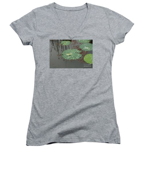 Hawaiian Lilly Pad 1 Women's V-Neck (Athletic Fit)