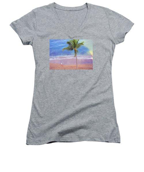 Hawaiian Morning Women's V-Neck T-Shirt (Junior Cut) by Kathy Bassett