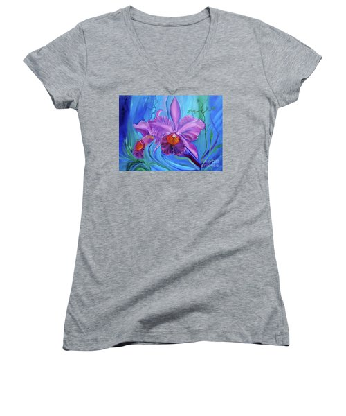 Hawaiian Orchid Lavender Jenny Lee Discount Women's V-Neck (Athletic Fit)
