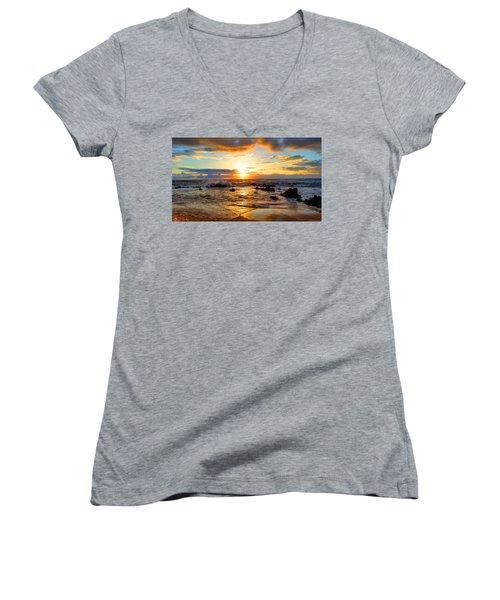 Hawaiian Paradise Women's V-Neck T-Shirt (Junior Cut) by Michael Rucker