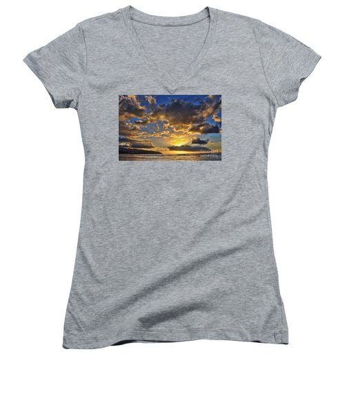 Women's V-Neck T-Shirt (Junior Cut) featuring the photograph Hawaiian Sunset by Gina Savage