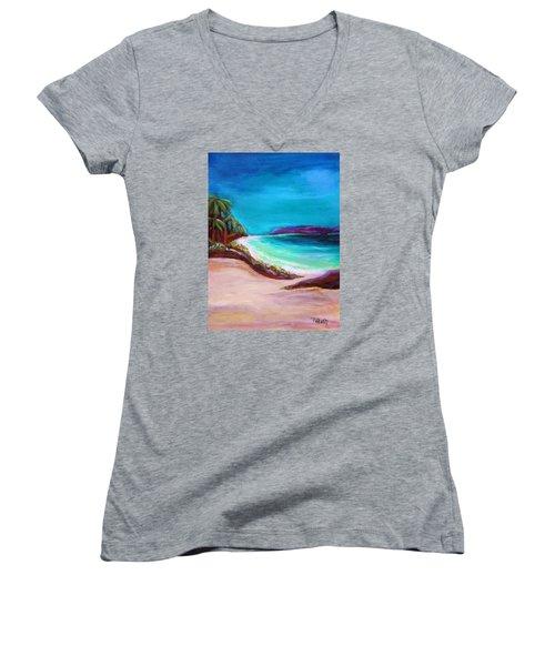 Hawaiin Blue Women's V-Neck T-Shirt (Junior Cut) by Patricia Piffath