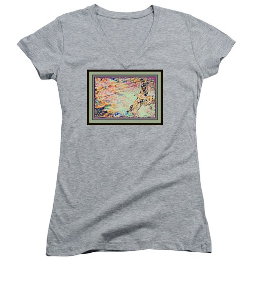 Hawk And Sky Women's V-Neck T-Shirt (Junior Cut) by YoMamaBird Rhonda