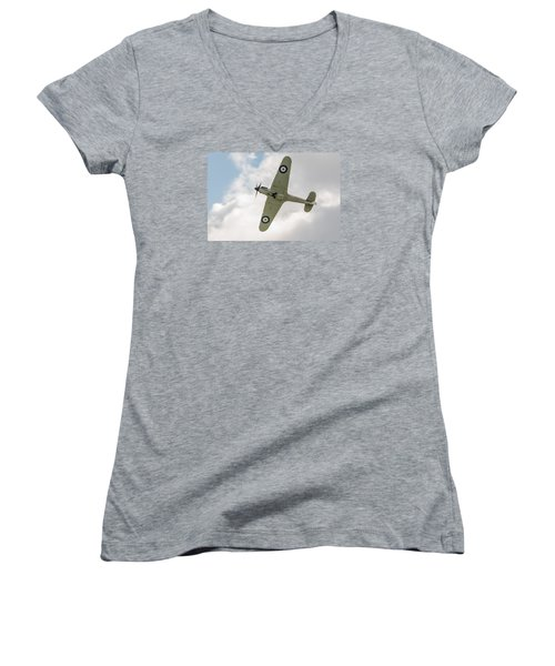 Hawker Hurricane Mk I Women's V-Neck T-Shirt (Junior Cut) by Gary Eason