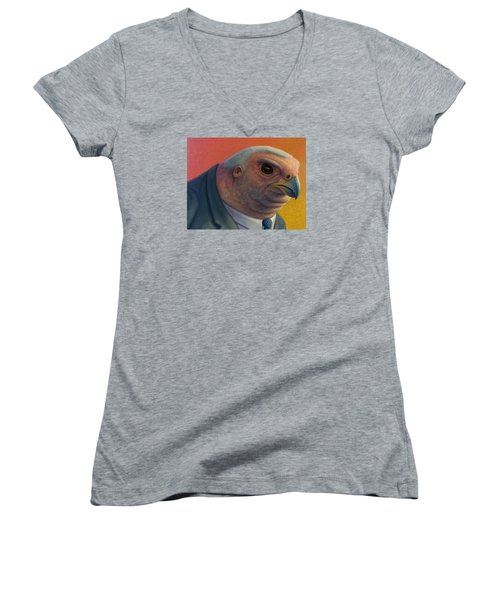 Women's V-Neck T-Shirt (Junior Cut) featuring the painting Hawkish by James W Johnson