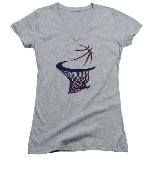 Hawks Basketball Hoop Women's V-Neck (Athletic Fit)