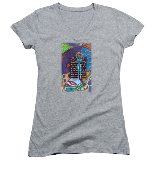 Hawthorn Herbal Tincture Women's V-Neck T-Shirt (Junior Cut) by Clarity Artists