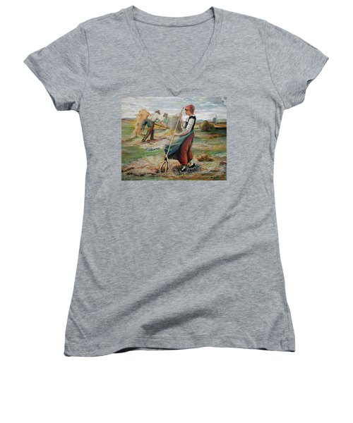 Hay Field Workers Women's V-Neck (Athletic Fit)