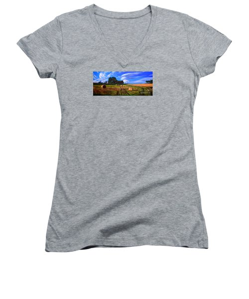 Hay Rolls On The Farm By Christopher Shellhammer Women's V-Neck T-Shirt