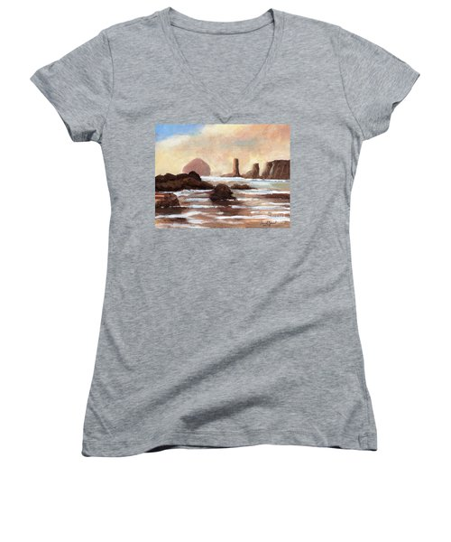 Hay Stack Reef Women's V-Neck T-Shirt (Junior Cut) by Randy Sprout
