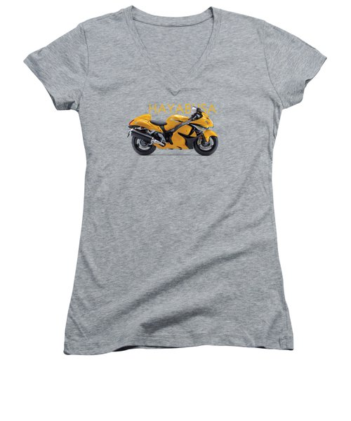Hayabusa In Yellow Women's V-Neck T-Shirt (Junior Cut) by Mark Rogan