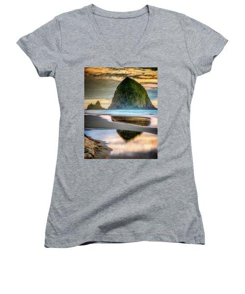 Haystack At Sunset Women's V-Neck T-Shirt