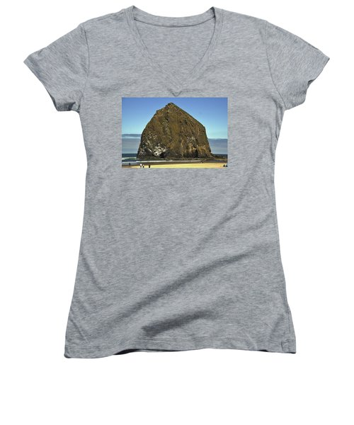 Haystack Rock, Cannon Beach, Or Women's V-Neck (Athletic Fit)