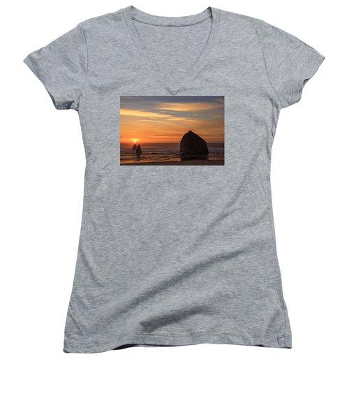Haystack Rock Ocean Sunset, Cannon Beach, Oregon Women's V-Neck