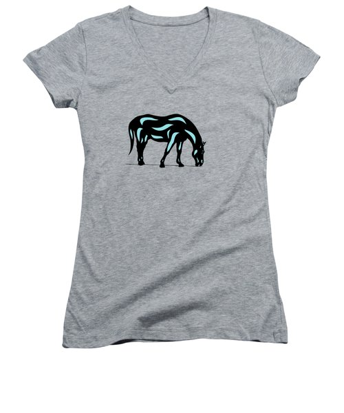 Hazel - Pop Art Horse - Black, Island Paradise Blue, Hazelnut Women's V-Neck (Athletic Fit)