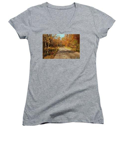 Hazen Notch Summit Road Women's V-Neck T-Shirt (Junior Cut) by John Selmer Sr