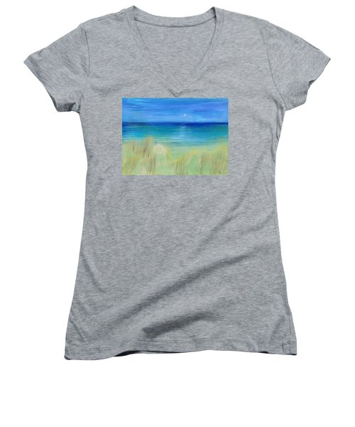 Hazy Beach Women's V-Neck T-Shirt (Junior Cut) by Regina Valluzzi