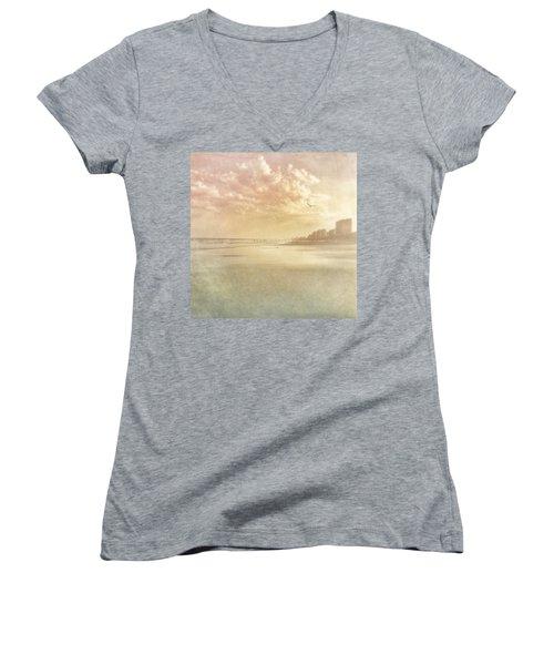 Hazy Day At The Beach Women's V-Neck T-Shirt