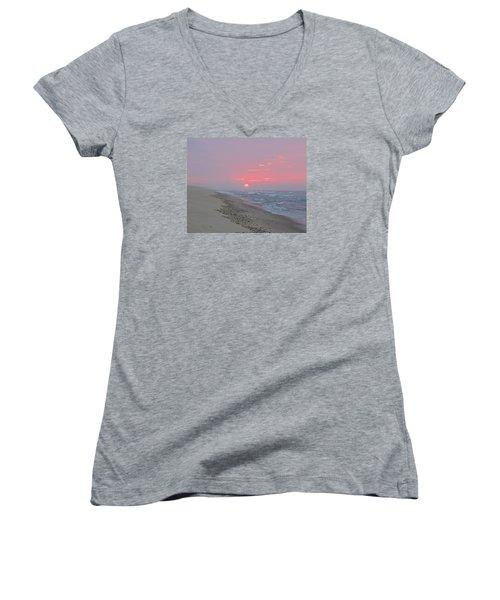 Women's V-Neck T-Shirt (Junior Cut) featuring the photograph Hazy Sunrise by  Newwwman