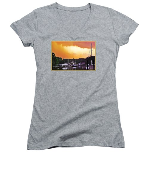 Women's V-Neck T-Shirt (Junior Cut) featuring the photograph Head For Safety by Brian Wallace