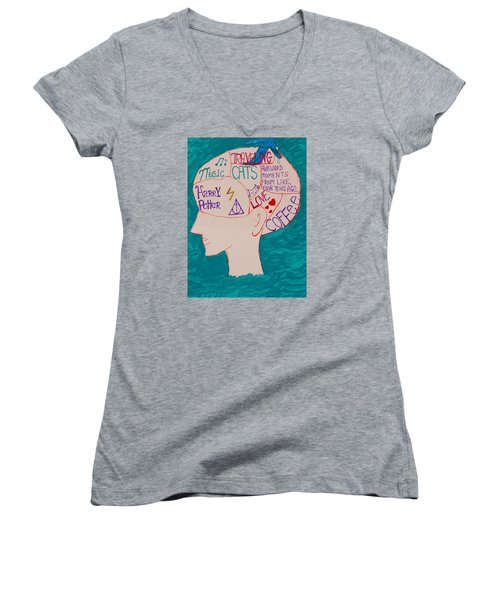 Head In Clouds Women's V-Neck T-Shirt (Junior Cut) by Artists With Autism Inc