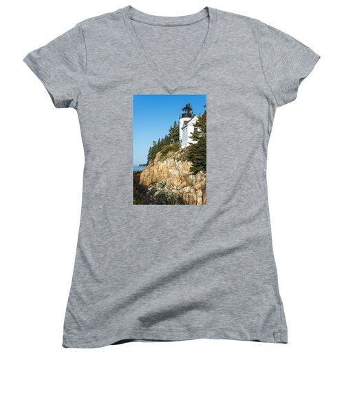 Women's V-Neck T-Shirt (Junior Cut) featuring the photograph Head Lighthouse by Anthony Baatz