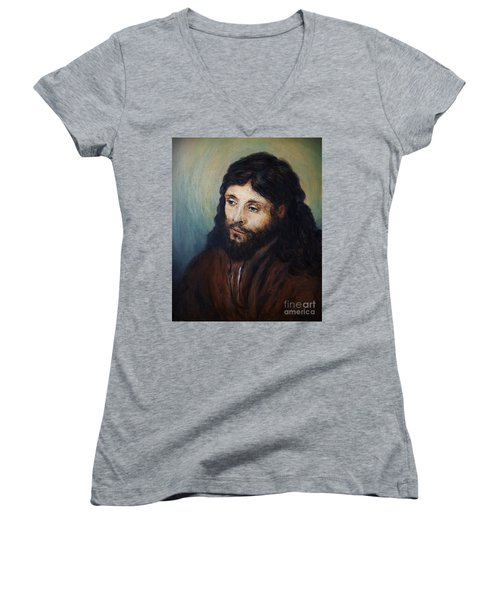 Head Of Christ After Rembrandt Women's V-Neck (Athletic Fit)