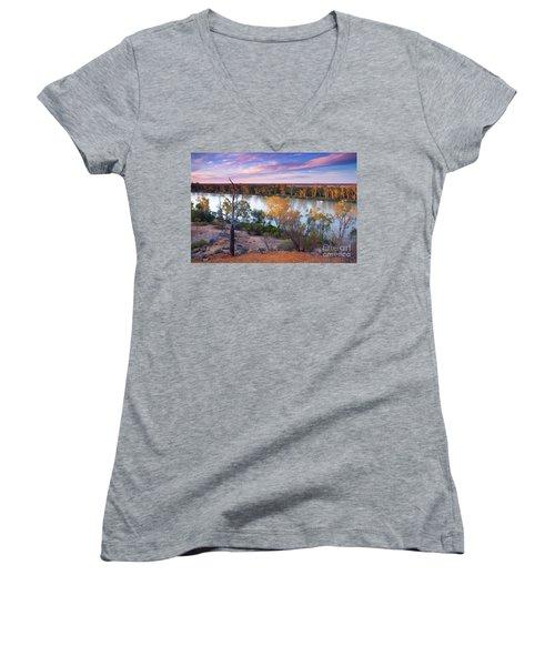 Women's V-Neck T-Shirt (Junior Cut) featuring the photograph Heading Cliffs Murray River South Australia by Bill Robinson