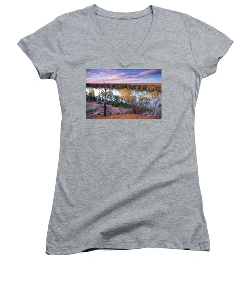 Heading Cliffs Murray River South Australia Women's V-Neck T-Shirt