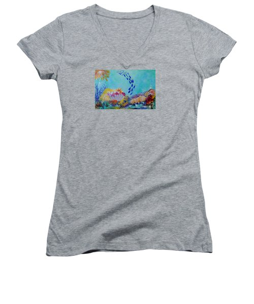 Heading For The Coral Women's V-Neck T-Shirt