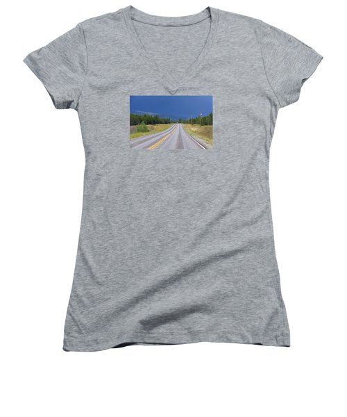 Women's V-Neck T-Shirt (Junior Cut) featuring the photograph Heading Into The Storm by Susan Crossman Buscho