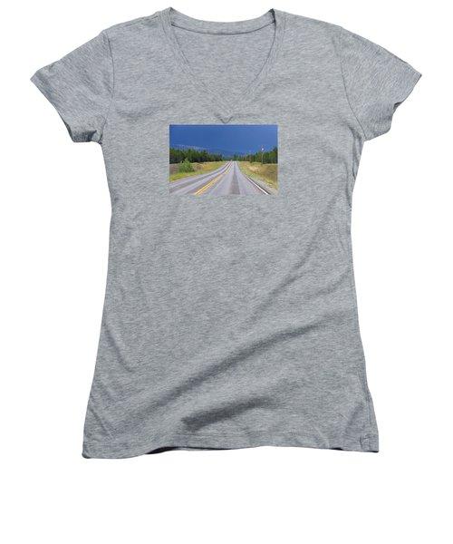 Heading Into The Storm Women's V-Neck T-Shirt (Junior Cut) by Susan Crossman Buscho