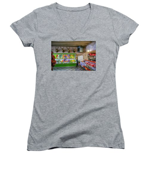 Women's V-Neck T-Shirt (Junior Cut) featuring the photograph Heads Of State by Skip Hunt
