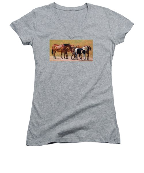 Heads Or Tails Women's V-Neck T-Shirt (Junior Cut) by Bonnie Mason