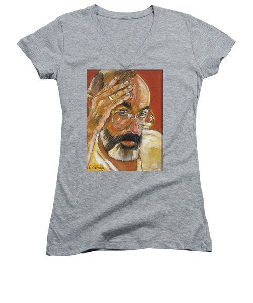 Women's V-Neck T-Shirt (Junior Cut) featuring the painting Headshot by Gary Coleman