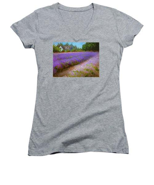 Impressionistic Lavender Field Landscape Plein Air Painting Women's V-Neck